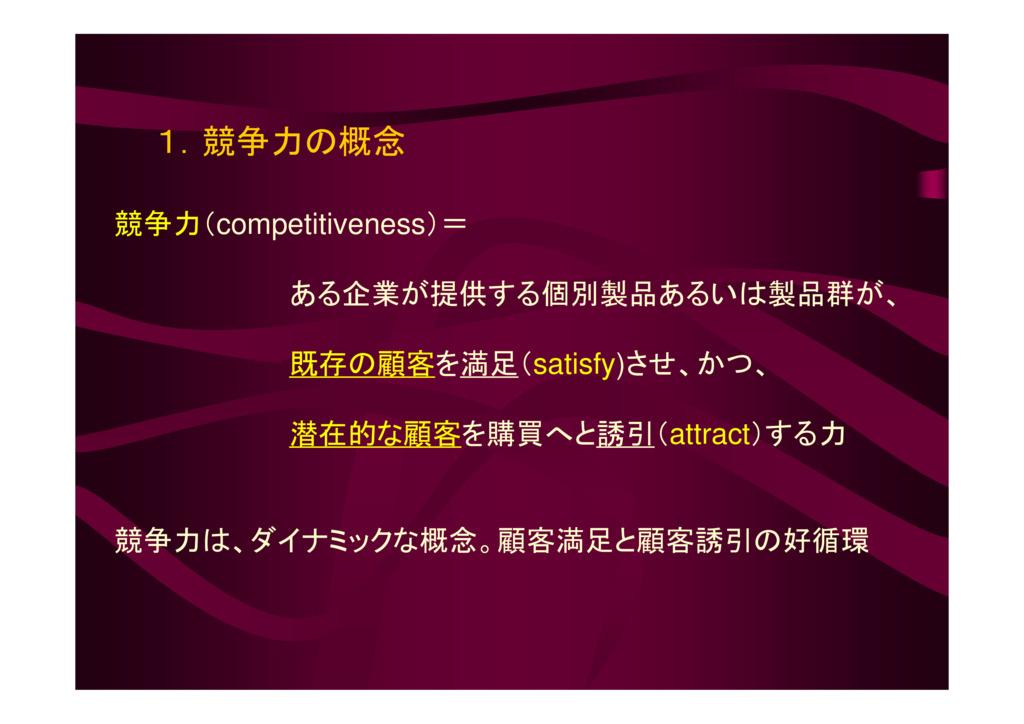 競争力の概念と構成要素