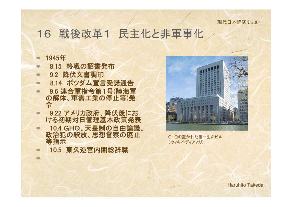 第3章 戦後復興期の日本経済  1 戦後改革1 民主化と非軍事化