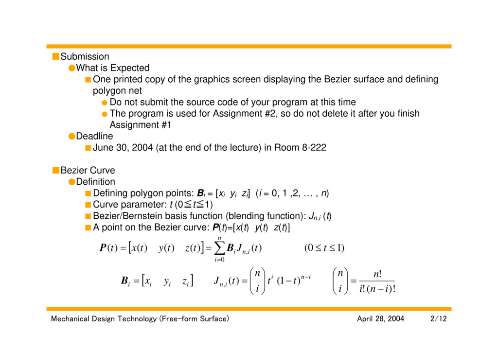 Lecture: Free-form Surface Generation, Assignment #1
